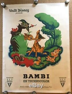 BAMBI Original French Grande Movie Poster 1P DISNEY Affiche 120x160 VERY RARE
