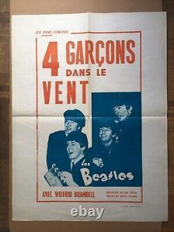 BEATLES 4 GARÇONS dans le VENT W. Brambell AFFICHE POSTER Originale d'époque