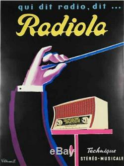 Bernard Villemot. Affiche Originale Radiola. Original Vintage Poster