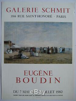 Boudin Eugene Affiche Originale 1980 Signée Poster Mourlot Paris Impressionisme