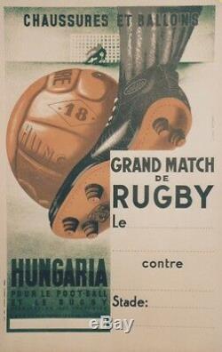 CHAUSSURES et BALLONS HUNGARIAAffiche originale entoilée NATHAN 1937 44x65cm