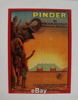 CIRCUS POSTER AFFICHE ORIGINALE CIRQUE PINDER ELEPHANT ASIE signée A MAGNE