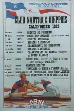 CLUB NAUTIQUE DIEPPOIS 1929 Affiche originale entoilée José BRIDGE 84x124cm