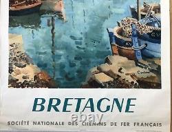 Ceria Affiche Original 1953 Bretagne Sncf Railways French Poster