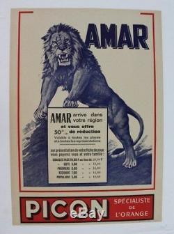 Cirque Amar Affiche Originale Circus Poster Lion Picon