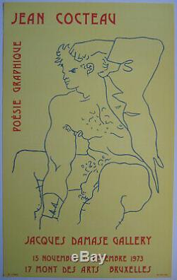 Cocteau Jean Affiche Tirée En Lithographie 1973 Lithographic Poster Nu Masculin