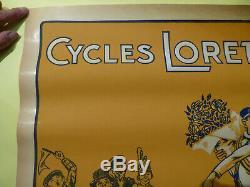 Cycles lorette affiche pub ancienne 1920 velo cyclisme Bourges original poster