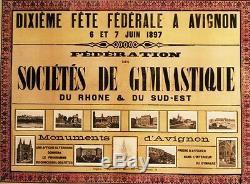 DIXIEME FÊTE FEDERALE A AVIGNON 1897 Affiche originale entoilée 105x81cm