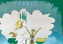 Deauville Plage Fleurie Affiche Litho 1953 Godreuil Original French Poster