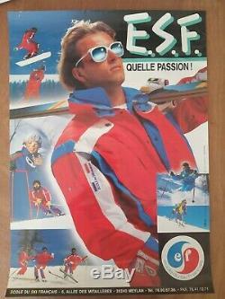 ESF Ecole du ski francais 6 affiches originales/skiing vintage posters