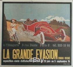 EXPO LA GRANDE EVASION 1974 Affiche originale entoilée GEO DORIVAL 53x49cm