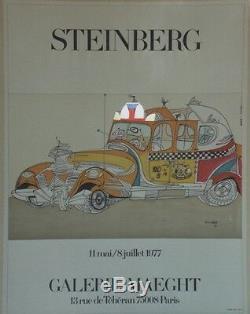 EXPOSITION STEINBERG 1977 Affiche originale entoilée Sérigraphie 64x83cm