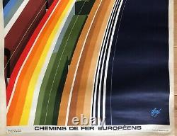 Foré Affiche Publicitaire Originale Chemin De Fer 1972 French Poster