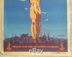 France d'outremer Troupes coloniales Affiche ancienne/original poster 1946