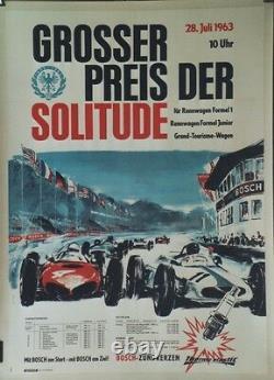GROSSER PREIS DER SOLITUDE 1963 Affiche originale entoilée Offset PB 64x88cm