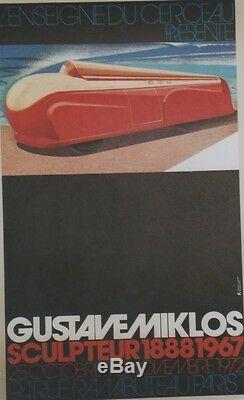 GUSTAVE MIKLOS EXPO L'ENSEIGNE DU CERCEAU 1972 Affiche originale entoilée