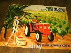 Grande Affiche Ancienne Tracteur RENAULT Vigne Verger Tractor Traktor Poster 80