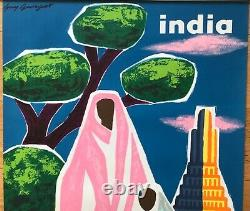 Guy Georget Affiche Lithographie Originale Air France Inde 1963 French Poster