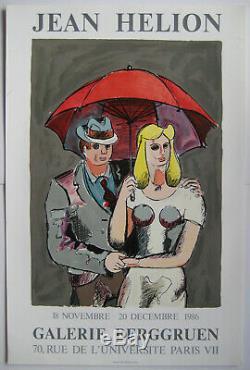 Helion Jean Affiche Tirée En Lithographie 1986 Lithographic Poster Galerie Paris