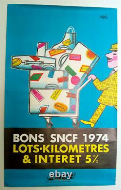 Herve Morvan Bons Sncf Original Poster Very Rare 1974