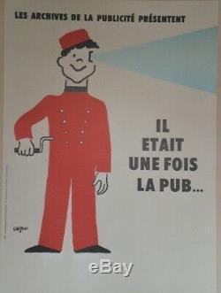 IL ETAIT UNE FOIS LA PUB Affiche originale entoilée SAVIGNAC 1986 50x68cm