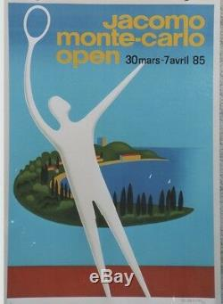JACOMO MONTE-CARLO OPEN 1985 Affiche originale entoilée FIX-MASSEAU 58x84cm