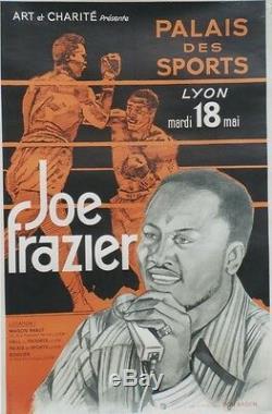 JOE FRAZIER PALAIS des SPORTS LYON 1971 Affiche originale entoilée 81x124cm
