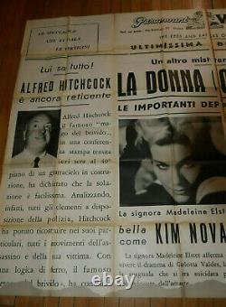 James Stewart Kim Novak Vertigo 1958 Italian Poster Affiche Original