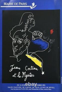 Jean Cocteau Affiche originale 1993 Exposition Paris/ Original Poster 1993