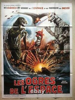 LES OGRES DE L'ESPACE / Affiche Cinéma 1976 Original French Kaiju Movie Poster