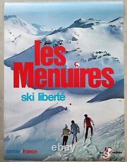 Les Menuires Les 3 Vallées Savoie Affiche ski ancienne/original poster ca 1975