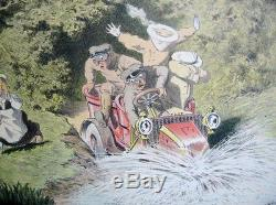 Lithographie originale 1905 Georges Meunier Renault automobile affiche Poster