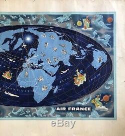 Lucien Boucher Affiche Air France Planisphère Zodiaque Original Vintage Poster