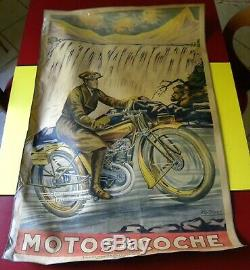 MOTOSACOCHE POSTER ancienne AFFICHE ORIGINALE PUB 1920 MOTO GARAGE FRITAYRE