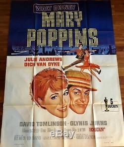 Mary Poppins / 1964 Original / Walt Disney / Affiche / Cinéma / Poster