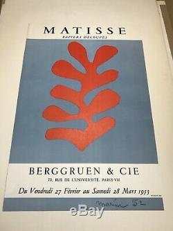 Matisse Mourlot affiche poster Litho Berggruen 1953 Originale