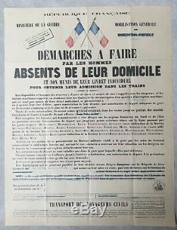 Ministère de la guerre Mobilisation Affiche ancienne/original poster 1926