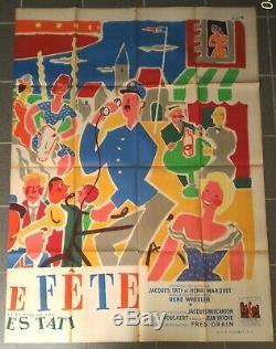 Moitié Affiche Cinema Originale Tati jour de fete 1949 Jacquelin vintage poster