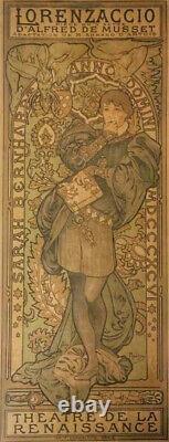 Mucha Affiche originale Lorenzaccio 1896 Sarah Bernhardt original vintage poster