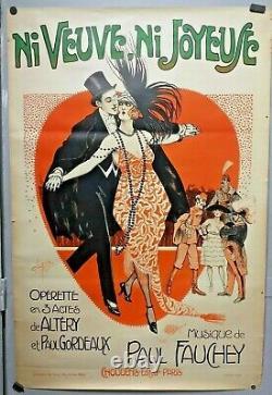 Ni veuve ni joyeuse affiche opérette Clérice 1919 vintage original poster