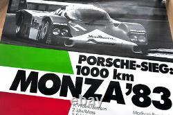 Original Porsche Affiche Poster 1000 Km Monza 7 X Porsche 956 Victoire 1983
