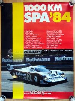 Original Porsche Affiche Poster 1000 km Spa 84 Rothmans 956 Stefan Bellof
