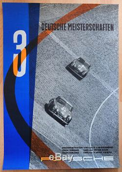 Original Porsche Affiche Poster 3 Allemand Meisterschaften 1956 356 Rare