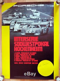 Original Porsche Affiche Poster Hockenheim 1973 Jägermeister 917 Signé