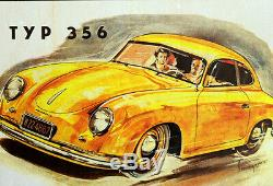 Original Porsche Affiche Poster Porsche 356 Beginn une Légende de 1951 Rare