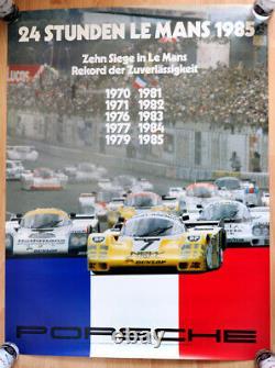Original Porsche Affiche Poster le Mans De 1970 Jusqu'À 1985 Gagne Porsche