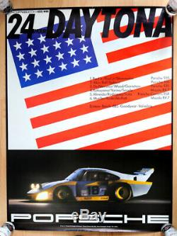 Original Porsche Affiche Publicitaire Poster 24 Heures Daytona 1982 935