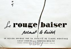 Original Publicité Affiche le Rouge Baiser Rene Gruau 1948 Très Rare