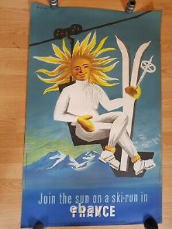 Original poster affiche ancienne ski JOIN THE SUN ON A SKI-RUN IN FRANCE Dubois
