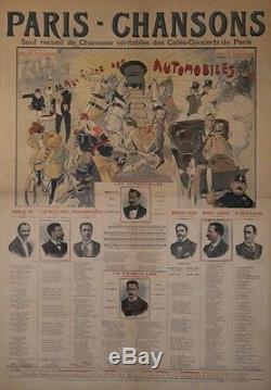 PARIS CHANSONS A LA GLOIRE DES AUTOMOBILES Affiche originale entoilée